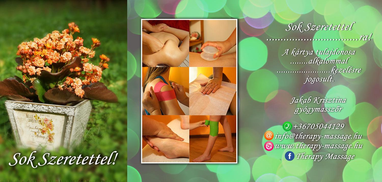 Therapy Massage virágos ajándékkártya teljes